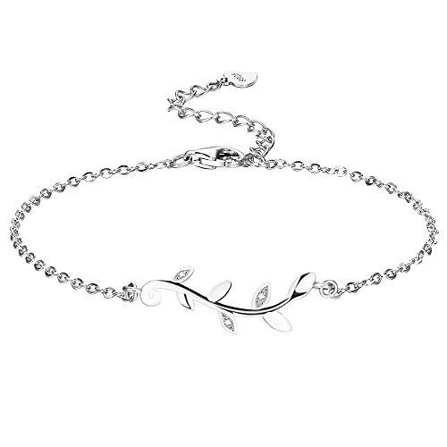 F.ZENI Damen Armband 925 Silber Oliven Blatt Armbänder minimalistische Oliven zweig Schmuck für Frauen Mädchen mit Geschenkbox