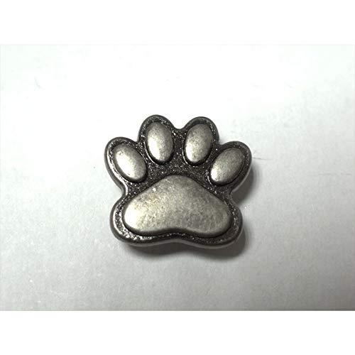 簡単取付け! ネジ式飾りカシメ 犬の足 肉球感がかわいいです 5mm足 アンティークシルバー 2個入 革小物などの留め具に最適