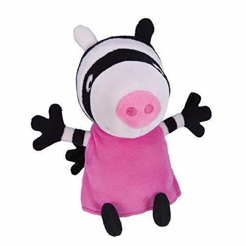 Jazwares 92639 - Peppa Wutz Zoe Zebra Kuscheltier mit Sound, Weiche Plüschfigur ca. 15 cm groß, Plüsch Figur zum Schlafen, Stofftier zum Spielen, Original Peppa Pig Plüschtier für Kinder ab 18 Monate