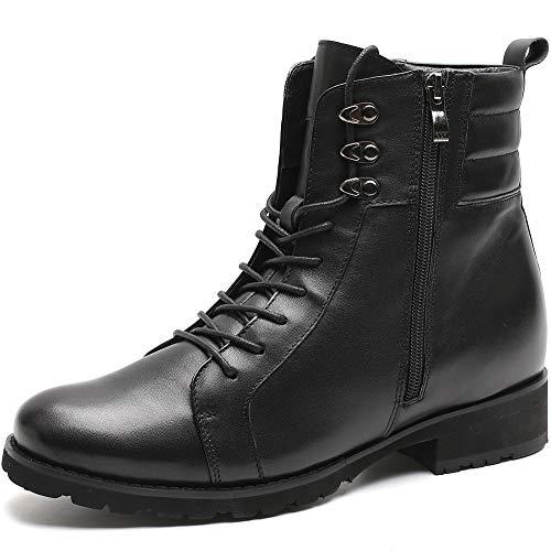CHAMARIPA Aufzug Herren Motorradstiefel Hohe Knöchel Lederreißverschlüsse Schwarze Schuhe Erhöhen 7 cm H82018K101D