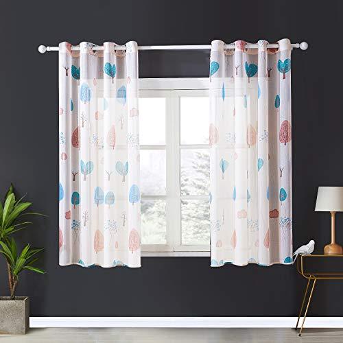 Topfinel Voile Vorhänge mit Ösen Baum Mustern Kurze Gardine für Kinderzimmer Fenster Wohnzimmer 2er Set 137x117cm (HxB) Baum