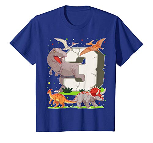 Niños 3 Años Para Regalo De Cumpleaños Figuras de Dinosaurio Camiseta