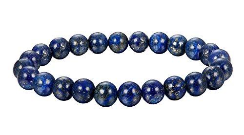 BESTEEL Schmuck 6Pcs Natur Stein Armbänder für Herren und Damen Armband Mala Elastisch 8mm Blauer Stein
