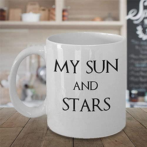 N\A Valentines My Sun and Stars Taza de café de 11 oz Taza Madre Dragones Khaleesi khal Drogo Amantes Cita Taza de té de cerámica Taza de Bebida para Mardi Gras Valentine's DayBirthdayAnniversary