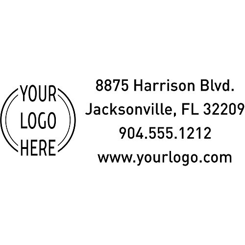 Custom Rectangle Logo Return Address Stamp - Custom Text - Self-Inking Stamper - Rubber Personalized Stamp - Stamps for Local Business - Personalized Business Stamps