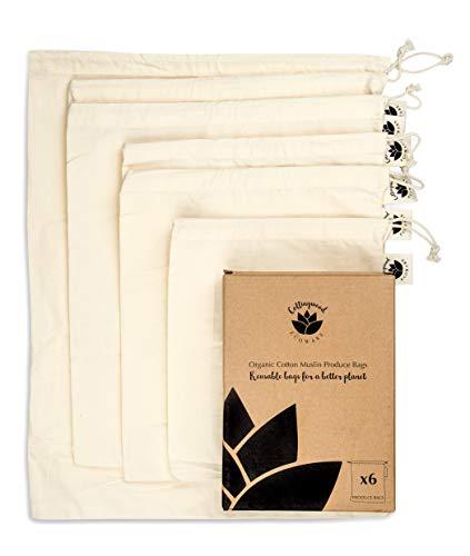 Wiederverwendbare Bio-Baumwollproduktbeutel – waschbar & biologisch abbaubar von Collingwood Ecoware – Set 6 Stück – Obst- und Gemüsebeutel für Einkauf und Aufbewahrung