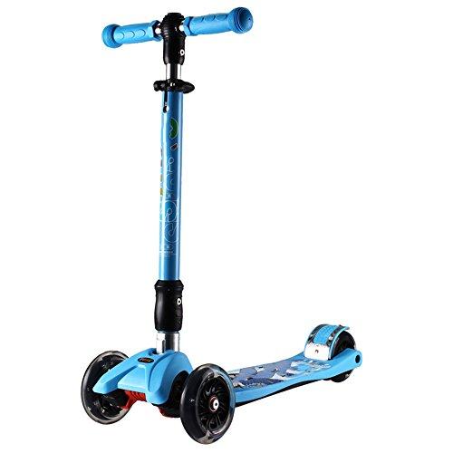 QFFL huabanche Roller Allrad Klapproller Aufweitung Flash Kinderfahrrad Scooter 2-6 Jahre alt Kinder Roller Schiebe Block 2 Farben optional (Farbe : A)