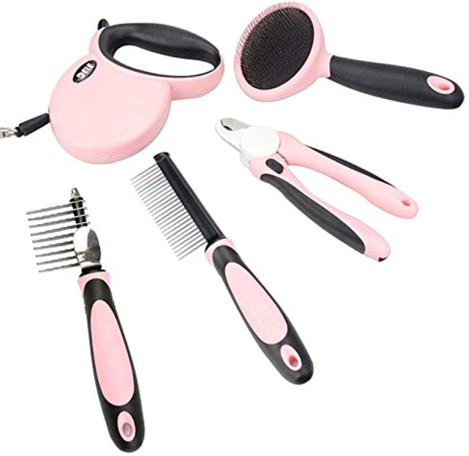 DELE Pet Grooming Tools Kit Including 5 Professional Tools,Pin Comb, Nail Clipper, Slicker Brush, Dematting Comb, 9.8 ft Retractable Dog Leash,Suitable for Pet Dogs or Cats (Pink).