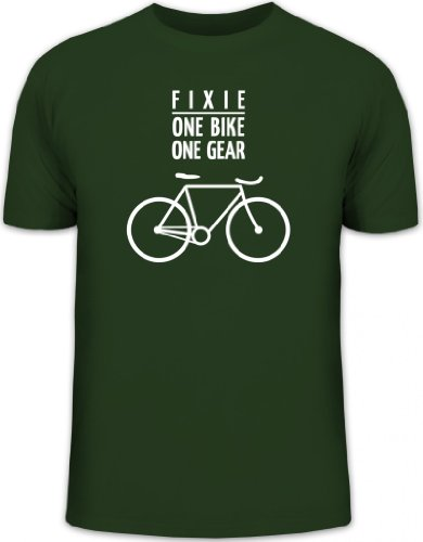 Shirtstreet24, Fixie - One Bike, Singlespeed Fahrrad Rennrad Herren T-Shirt Fun Shirt Funshirt, Größe: L,dunkelgrün