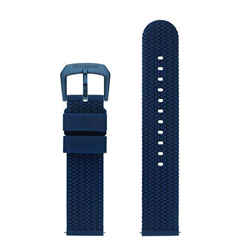 DETOMASO Uhrenarmband Silikon-Armband 20mm 22mm 24mm mit Schnellwechsel Federsteg und Dornschließe (20mm, blau - dunkel Blaue Schließe)