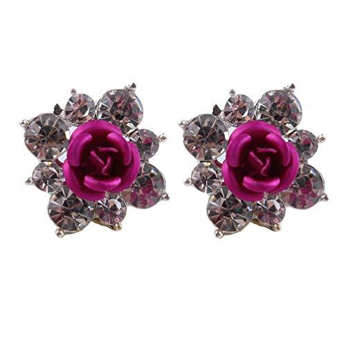 Élégant Rose Flower Stud Earrings Womens Charm Boucles Doreilles Bijoux Rose Rouge Exécution ExquiseDurable et utile