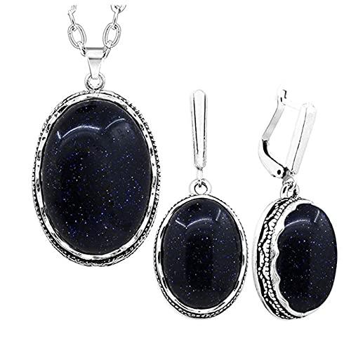 CLEARNICE Conjunto de Joyas de Piedra con Lentejuelas Azul Oscuro ovaladas, Collar, Pendientes para Mujer, Colgante de Flores, Cadena de Acero Inoxidable, Longitud 70Cm