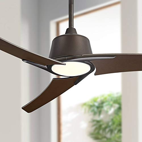 """48"""" The Matrix Modern Contemporary Ceiling Fan with Light LED Dimmable Remote Control Oil Rubbed Bronze Frosted White Glass House Bedroom Living Room Home Kitchen Dining Office - Casa Vieja"""