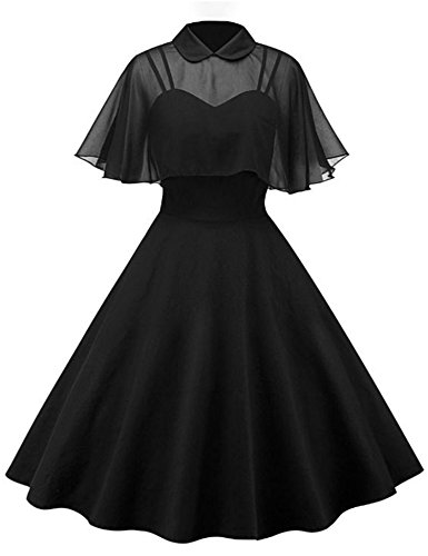 GownTown Women's 1950s Cloak Two-Piece Cocktail Dress Black