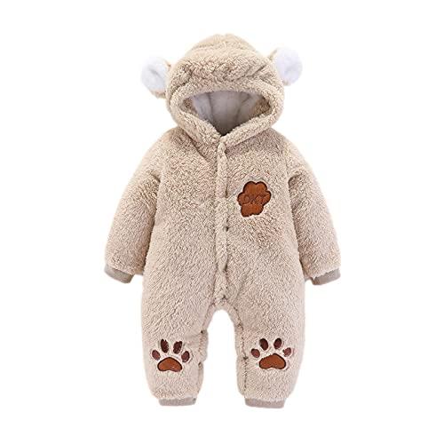 Newborn Baby Warm Thick Snowsuit Cartoon Bear Hoodie Jumpsuit Fleece Hooded Winter Bunting Outwear Khaki
