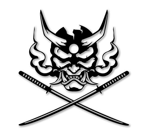 Sticker Oni Samurai Demon Mask with Crossed Katana Decal for Laptop Car Wall Window USA Stickers (8')