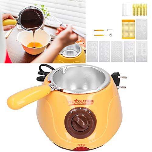 Chocolade Melting Pot Kit, elektrische Chocolade Maker Elektrische Fonduepan met Vorken Spatels Mallen voor Chocolade/Kaas/Sauzen(pink)