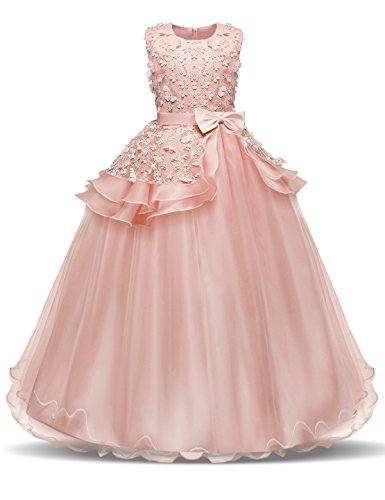 NNJXD Girl Sleeveless Embroidery Princess Pageant Dresses Prom Ball Gown Size (170) 13-14 Years Pink