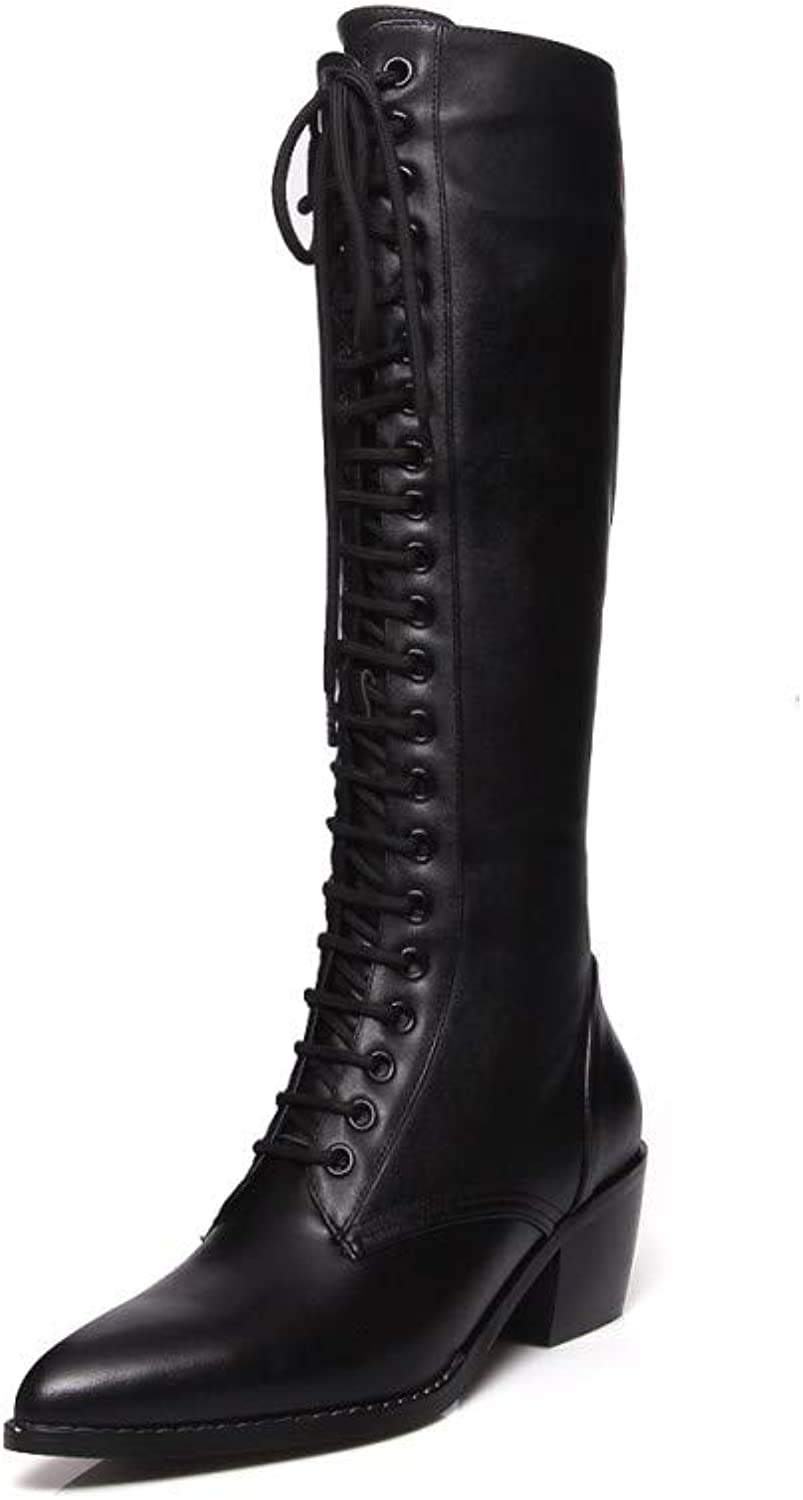 Nine Seven Women's Genuine Leather Pointed Toe Mid Chunky Heel Handmade Casual Full Side Zipper Lace Up Knee High Boots