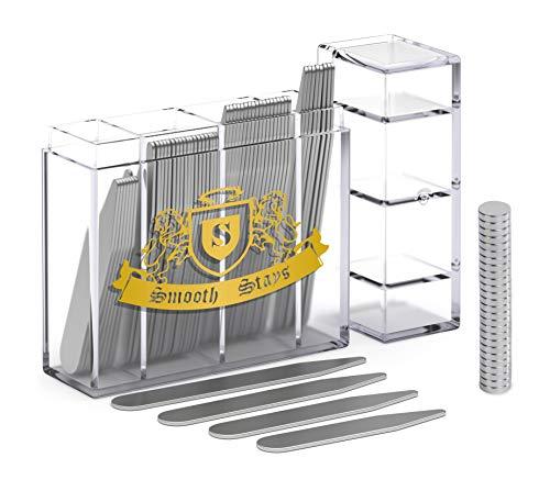 Kragenstäbchen aus Metall, 52 magnetische Kragenstäbchen in geteilter Box mit 26 Kragenmagneten (gemischt) Gr. Gemischt, edelstahl