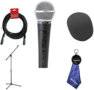 Shure SM58S Vocal On - Off Switch Mic with 20' XLR Cable - Boom Stand