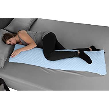 Lavish Home Memory Foam Body Pillow- for Side Sleepers, Back Pain, Pregnant Women, Aching Legs and Knees, Hypoallergenic Zippered Protector by (Blue)