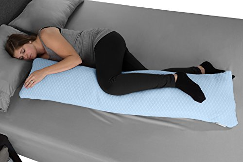 Memory Foam Body Pillow- for Side Sleepers, Back Pain, Pregnant Women, Aching Legs and Knees, Hypoallergenic Zippered Protector by Lavish Home (Blue)