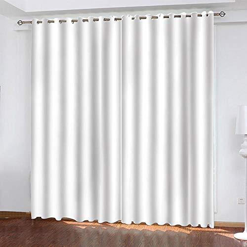 FSMYQH Cortinas Salón Opacas Aislantes Térmicas Blanco Cortinas Opacas para Ventanas Dormitorio Salón Moderno 234 x 137 cm