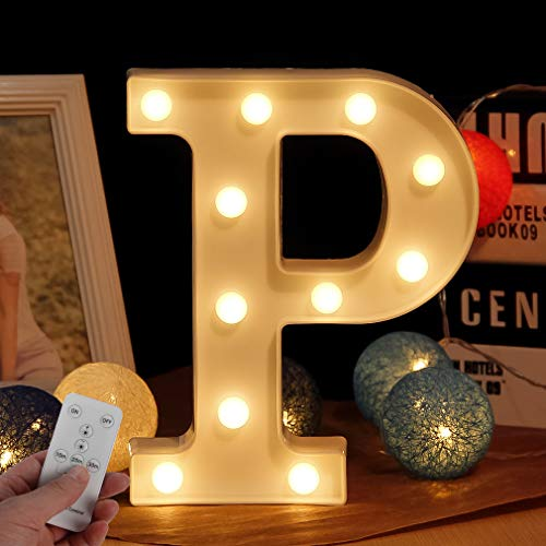 WHATOOK LED Marquee Letters with Lights,Light Up 26 Alphabet Battery Powered Wall Decorative Lamp with Remote for Event Design and DIY Combination (Letter-P)