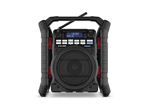 PerfectPro - Radio de obra con altavoz Bluetooth y receptor FM, resistente a los golpes, radio portátil con puertos AUX y USB