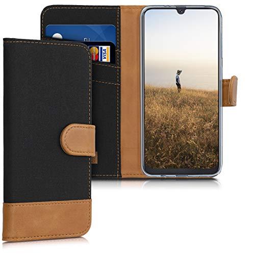 kwmobile Wallet Hülle kompatibel mit Samsung Galaxy A50 - Hülle Kunstleder mit Kartenfächern Stand in Schwarz Braun