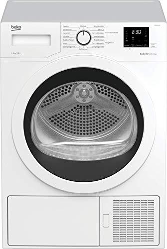 Beko DS9633GA0 Kondenstrockner mit Wärmepumpentechnologie/Touch-Display/elektronische Feuchtemessung/kombinierter Filtermechanismus/ 9 kg/A++/ weiß mit Glastür