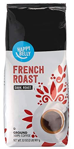 Amazon Brand - Happy Belly French Roast Ground Coffee, Dark Roast, 32 Ounce