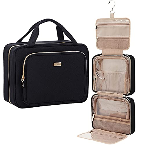 NISHEL 4 Sections Hanging Travel Toiletry Bag Organizer, Water Resistant Large Makeup Cosmetic Case for Bathroom Shower, Black
