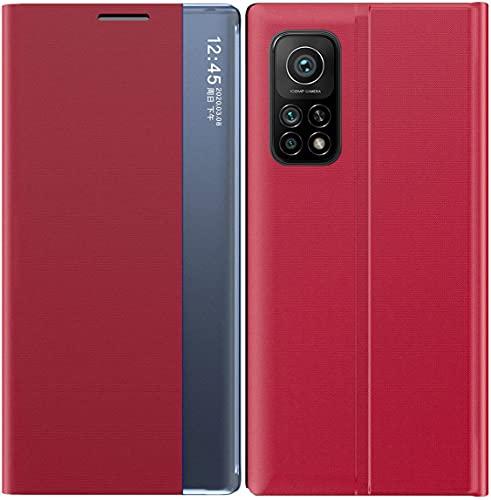 Funda de Cuero Inteligente de Alta Gama para Xiaomi Mi 10T Pro/Mi 10 T 5G. 21/ S 20 FE/Poco x3 NFC/Samsung Galaxy A51/9 T/S 30 Flip/Suspender/Despertar/Estuche de Cuero Rojo