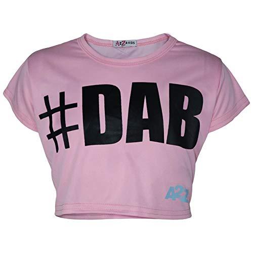 A2Z 4 Kids Enfants Filles Crop Top Bébé Rosé Designer - Crop Top #Dab Baby Pink_9-10