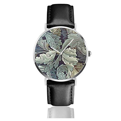 William Morris Artwork Classic Casual Reloj de cuarzo Acero inoxidable Correa de cuero Negro Relojes de pulsera