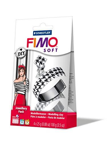 Staedtler 8025 05. Fimo Soft DIY Set Joyas. 4 Bloques de 25 g. Pulsera y anillo, colores blanco y negro.