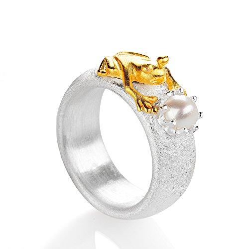 Drachenfels Luxus Damen Ring aus der Kollektion Froschkönig | teilgoldplattiert mit einer Süßwasser Zuchtperle | Designerschmuck veredelt & goldplattiert