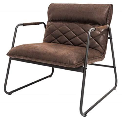 Casa Padrino sillón Retro Lounge marrón Vintage/Negro 71 x 72 x A. 79 cm - Sillón de Cuero sintético con Estructura de Metal - Muebles de Sala