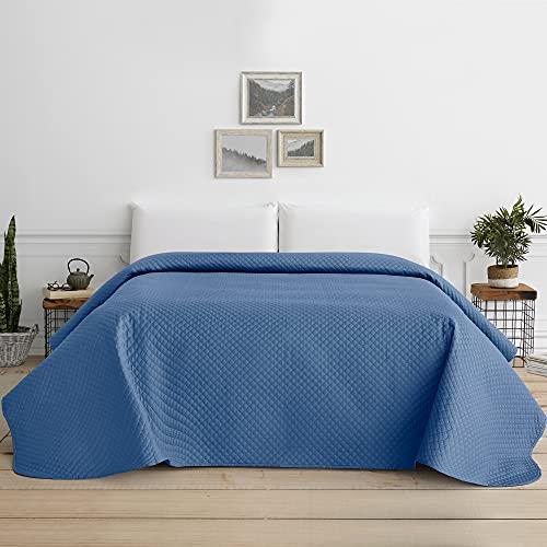 Vipalia Copriletto Bouti per letto estivo. Copriletto trapuntato reversibile Rombos. Letto 180 - 270 x 260 cm. Blu Marino