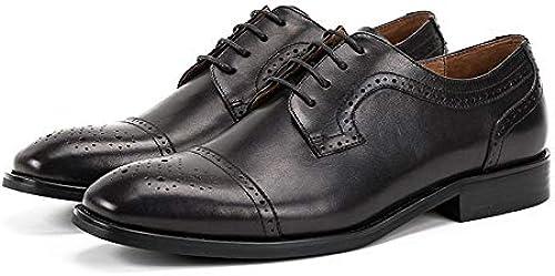 EGS-schuhe Herren Jugend Herrenschuhe Leder Vintage handgemachte Sommer Wildleder atmungsaktive Spitze,Grille Schuhe (Farbe   schwarz, Größe   39-EU)