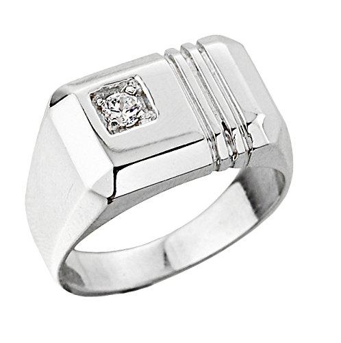 Pequeños Tesoros - Anillos Hombres Alianza De Boda 10 KT Oro Blanco 471/1000 Diamante