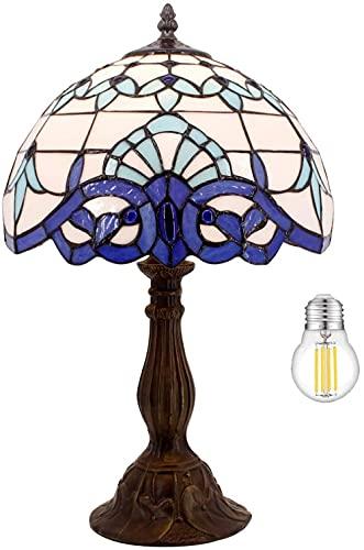 E27 Vitral Tulipán Lamparas de Mesa Para el Dormitorio Vintage Art Decó Lampara Mesa de Noche -Azul morado