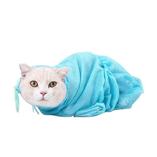 LINVINC Bolsa de Lavado de Gato - Bolsa de Baño para Lavar Bolsa de Malla para Ducha Anti Rasguno Anti Mordaz para Bañarse Recorte de Uñas Alimentacion de Medicamentos - Azul