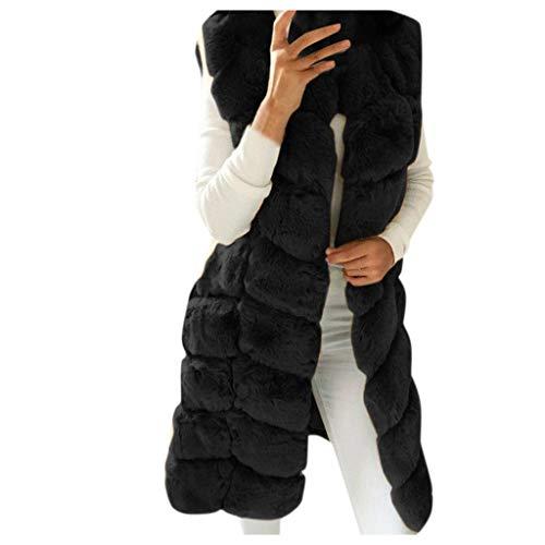 Xiangdanful Damen Winter Warm Kunstfell Mantel Lange Sleelve Cardigan Boyfriend Shearling Fuzzy Jacke mit Taschen Kapuzenmantel Winterjacke Übergangsjacke Plüschjacke Coat Fleece (XL, Schwarz)
