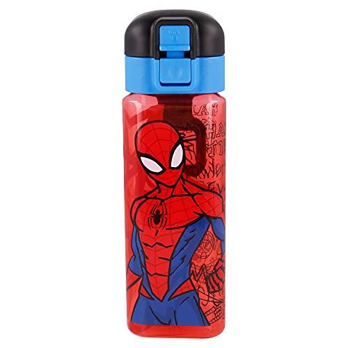Spiderman  Botella Reutilizable infantil con Sistema Antigoteo y asa para transportar - Facil Apertura con botón - Libre de BPA- Material Ligero y Resistente - Capacidad 550 ml