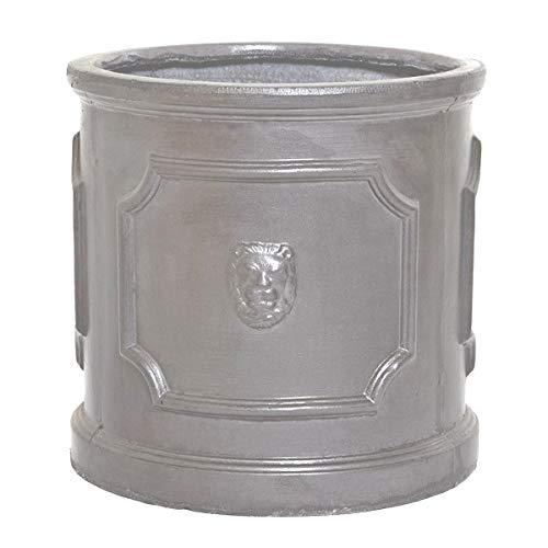 Round Wood 32cm Clayfibre Faux Lead Lion Head Cylinder Planter/Plant Pot/Container/Garden Feature/Gift
