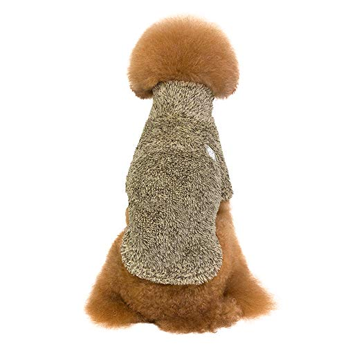 Amphia - Bekleidung Katze,Baumwollsamt gepolsterte Haustierkleidung - Haustier Hund warme Winterkleidung TurtleHals Coral Feece Warm Zwei-Bein-Kleidung(Kaffee,XL)