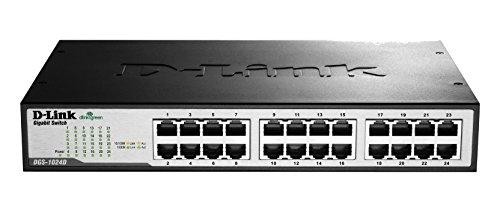 D-Link DGS-1024D - Switch 24 Puertos Gigabit (LAN RJ-45, sin gestión, 1000 Mbps por Puerto, QoS, Carcasa metálica, Montaje...